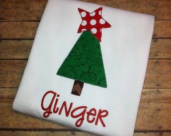 Personalized Christmas shirt- Christmas applique Shirt- Christmas Tree applique shirt- Santa applique shirt- Christmas Shirt- Girls shirt
