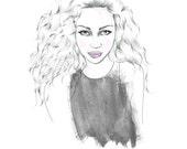 Leo fashion illustration // zodiac print // astrology decor // lion
