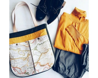 World Map Print Tote Bag ,Large Purse ,Shoulder Bag ,Market Beach Bag, Atlas , USA ,Map