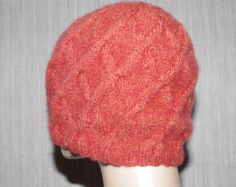 Pure Cashmere Brick Orange Cable Hand Knit Soft Warm Beanie Hat for Men or Women
