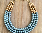 Powder Blue and Gold Statement Necklace