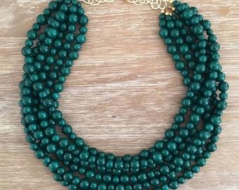 One•Of•A•Kind Dark Green Statement Necklace