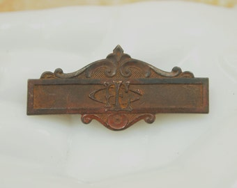 """Antique Bar Pin / Ribbon Holder - """"FCL""""  Fraternity Charity Loyalty - Womans Relief Corps - Heavy Bronze - 1.5"""" width"""
