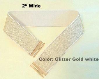 "Gold Elastc Belt, Golden Elastic Belt, Cinch Elastic Belt 2"" wide, plus size belt, Waist belt for any winter jacket coat, Shirt"