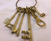 Vintage Brass Key Ring and Keys