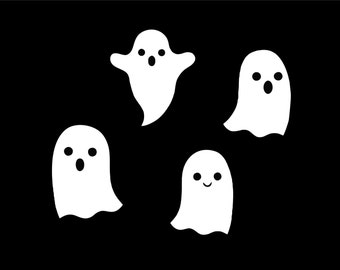 4 white ghost decals ghost stickers halloween decorations halloween decal ghosts