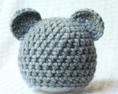 Newbornl Bear Hat in Gray, Photo Prop.