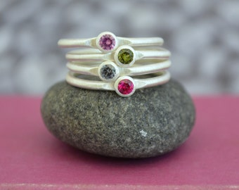 Set of Four Stackable Birthstone Rings in Sterling Silver