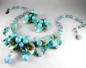 Vintage Necklace Set Signed W Germany Celluloid Glass Textile Floral Leaf and Berries Motif Bib