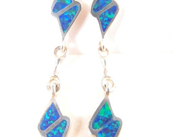 Opal Earrings Sterling Silver Black Opal Veneers Thunderbolts Post Style Danglers Surfer Style
