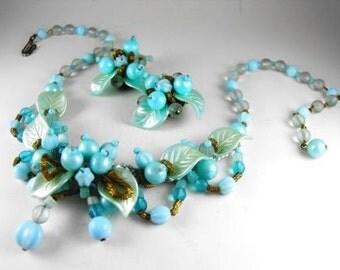 Vintage Necklace Set Signed W Germany Celluloid Glass Textile Floral Leaf and Berries Motif Bib