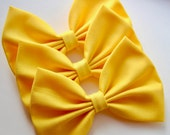 NEW - Sunshine Hair Bow - Bright Yellow Solid Color Hair Bow with Clip
