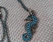 Turqouise Crystal Seahorse with Aqua Pitina Chain