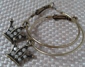 Large Antique Gold Hoop Earring with Antique Gold Rhinestone  Crown Charm Jewelry