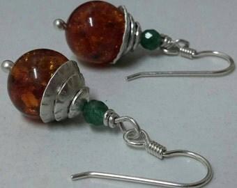 Amber earrings silver drops, green adventurine earrings, amber ball earrings, silver amber earrings & jewelry