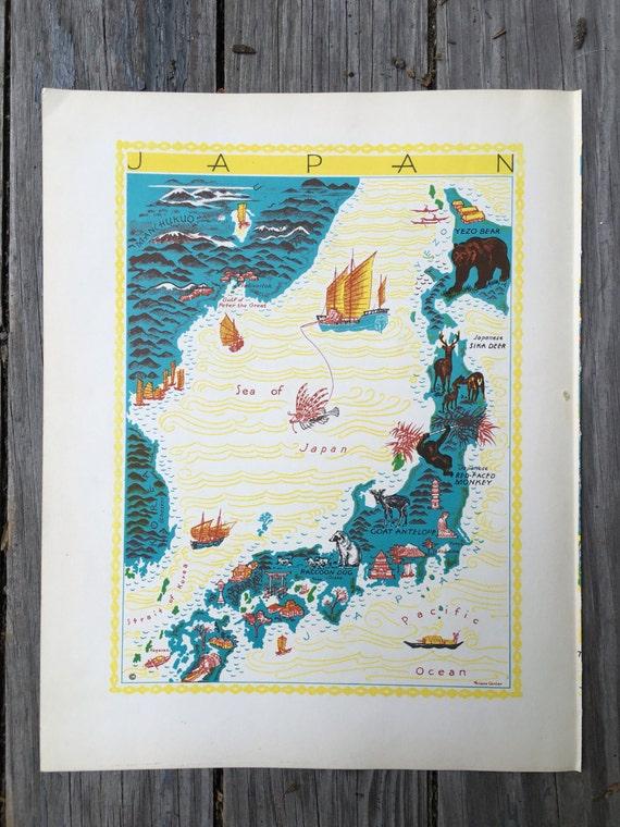Japan map art animal map nursery decor map of japan like this item sciox Gallery