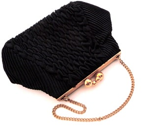 Black Pleated Crepe Evening Purse Styled by Falls and Gray Sydney