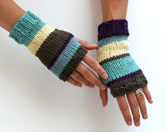 Mix Matched Mitts - Fingerless Gloves - Cotton Gloves - Knit Gauntlets - Arm Warmers - Hand Knit Gloves - Striped Gloves - Winter Gloves