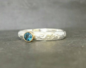 Blue - 9ct 9k pink gold bezel set London blue topaz ring alternative engagement ring, silver skinny band UK