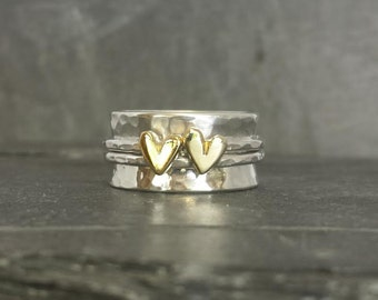 Little Sweetheart wide band spinning ring, worry ring - sterling silver ring  with 2 solid 9ct or 14ct gold hearts...