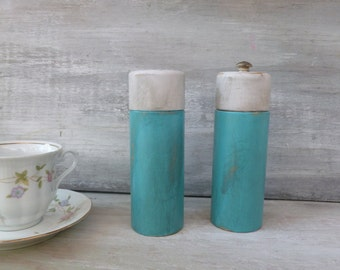 Wooden Salt Shaker and Pepper Grinder Painted Turquoise and White