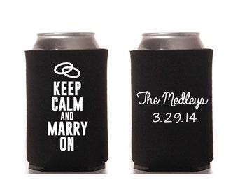 Keep Calm Wedding Can Beverage Cooler Two Sided Wedding Rings Marriage Happy Classic Marry On Digital File Printable