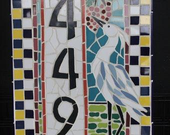 Mosaic Art, Mosaic Birds, Mosaic House numbers, Blue Heron, Bird Lover Art, Outdoor Art,  Coastal Home Mosaic Plaque,  Original Mosaic
