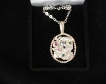 MULTI STONE PENDANT sterling silver w/ 7 faceted 3 mm gemstones prong set 18 inch chain