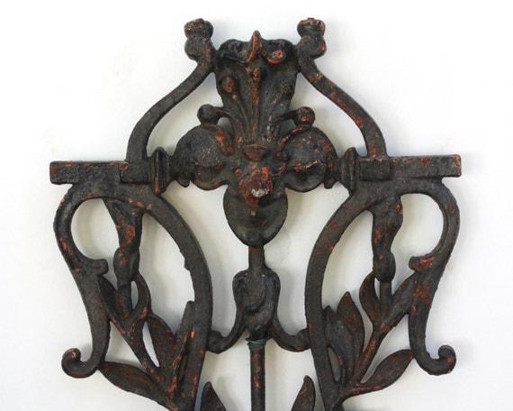 French Art Nouveau Cast Iron Fence Wall Decor Antique