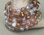 Bracelet-Beaded Bracelet-Wrap Bracelet-Bronze Bracelet-Crystal Jewelry-Brown Bracelet-Copper Bracelet,Multi color Bracelet,Fall Bracelet