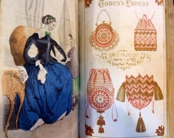 1855 Godey's Lady's Book ILLUSTRATED complete year, hand colored illustrations, literature, patterns, etchings, unreal!! 1000+ pages