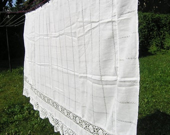 Vintage White Cotton Curtain with Lace, Single White Lace Kitchen Curtain, Retro 1960s 1970s White Cotton Curtain