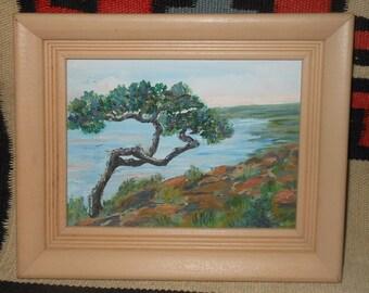 Vintage bonsai tree miniature oil painting landscape