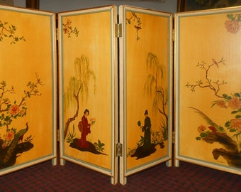 Vintage hand painted four panel screen signed B.Hall