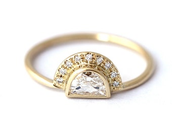 Engagement Ring - Half Moon Diamond Engagement Ring - 0.25 Carat Diamond Ring - 18k Solid Gold