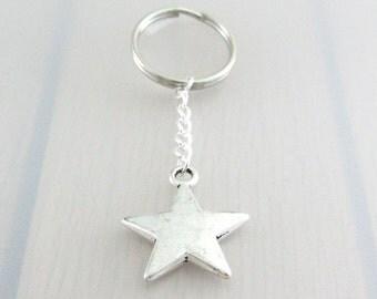 Solid Star Charm Keychain, Star Charm Keyring, Silver Star Keychain, Space Charm Keyring, Celestial Keychain, Space Gift, Night Sky Gift
