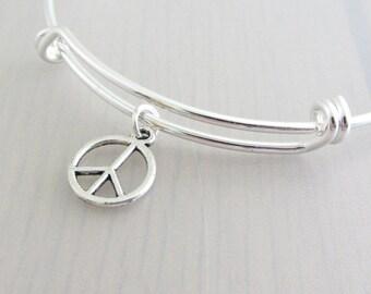 Silver Peace Charm Bangle, Peace Sign Charm Bracelet, Adjustable Charm Bangle, Silver Peace Bangle, Stackable Bracelet