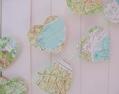 World Atlas Heart Bunting, Large Heart Map Bunting 5ft Long, Wedding Bunting,Wedding Garland,Bridal Shower, Photo Prop, Bon Voyage Party