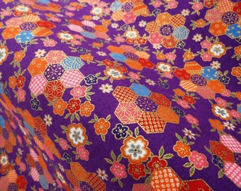 Japanese fabric geometric purple cotton fat quarter, japan fabrics by the yard, tissu japonais, kawaii quilt, sakura fabric, kimono yukata