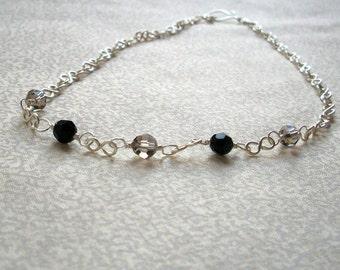 Susan - Jet Black & Gray Crystal Necklace, Ready to Ship