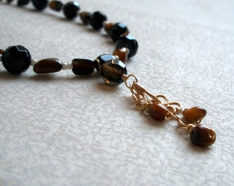 Gemstone Dangle Necklace - Jet Black & Golden Brown Necklace, Night Tiger, Ready to Ship