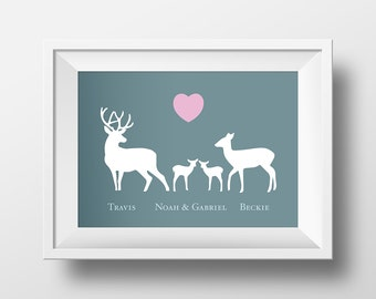 Stag, Deer And Baby Love Print. Celebrate Family New Baby, Birth, Christening, Engagement, Wedding, Anniversary gift. Prints for the home.
