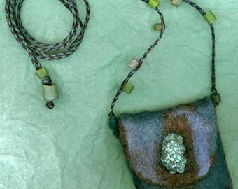 Chalchihuitl, wet felted amulet bag