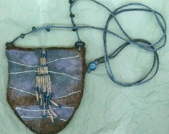 Hydrozoan, wet felted amulet bag