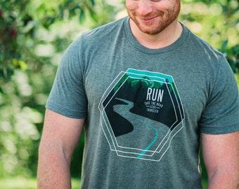 Running T Shirt - Run. Take the road less traveled.  - Runner Tee Shirt