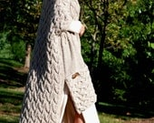 Hand Knit Women Chunky Cable Sloppy Pocket High-Low Blanket Cardigan Sweater Coat Vest Top Whole Wool S M L XL XXL