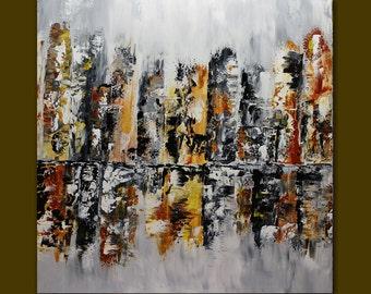 Abstract Cityscape Art oil painting,Acrylic palett knife.