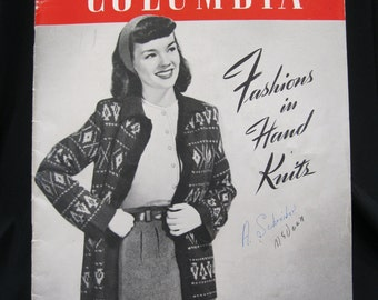 1946 Columbia Fashions in Hand Knits, Volume 107, 32 pages of beautiful retro knitting patterns, gorgeous full page black and white photos