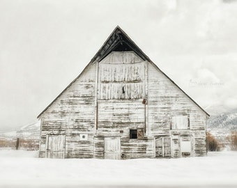 White Barn, Winter Photography, Neutral Wall Art, Modern Rustic Grey Farmhouse Decor, Country Chic Barn Picture  | 'White'