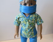 American Girl Doll Clothing; American Girl Doll Four Piece Scrubs Outfit; Doll Nurse Outfit; Doll Scrubs Outfit